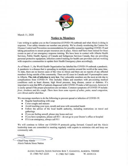 Alexis Nakota Sioux First Nation Notice March 11