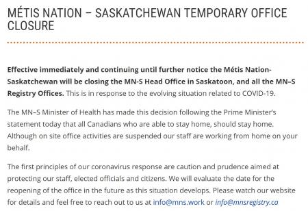Metis Nations-Saskatchewan Office Closure: March 16