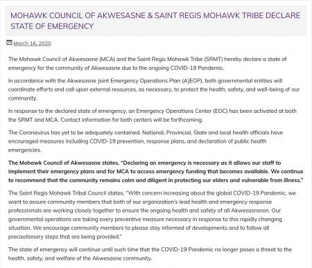 The Mohawk Council of Akwesasne and the Saint Regis Mohawk Tribe state of emergency